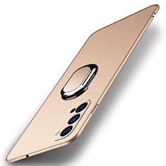 Funda Dura Plastico Rigida Carcasa Mate con Magnetico Anillo de dedo Soporte A01 para Oppo Reno4 Pro 5G Oro