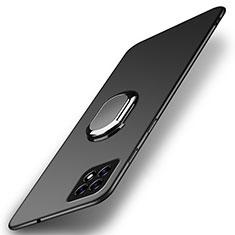 Funda Dura Plastico Rigida Carcasa Mate con Magnetico Anillo de dedo Soporte A01 para Oppo Reno4 SE 5G Negro