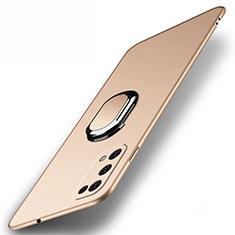Funda Dura Plastico Rigida Carcasa Mate con Magnetico Anillo de dedo Soporte A01 para Realme V5 5G Oro