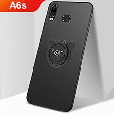 Funda Dura Plastico Rigida Carcasa Mate con Magnetico Anillo de dedo Soporte A01 para Samsung Galaxy A6s Negro