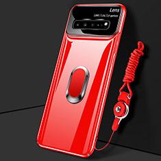 Funda Dura Plastico Rigida Carcasa Mate con Magnetico Anillo de dedo Soporte A01 para Samsung Galaxy S10 5G SM-G977B Rojo