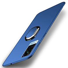 Funda Dura Plastico Rigida Carcasa Mate con Magnetico Anillo de dedo Soporte A01 para Vivo X60 5G Azul