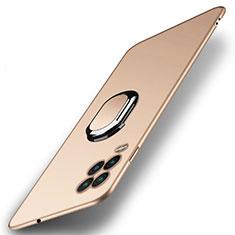 Funda Dura Plastico Rigida Carcasa Mate con Magnetico Anillo de dedo Soporte A01 para Xiaomi Mi 10 Lite Oro