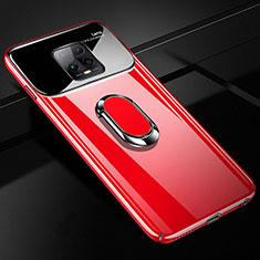 Funda Dura Plastico Rigida Carcasa Mate con Magnetico Anillo de dedo Soporte A01 para Xiaomi Redmi 10X Pro 5G Rojo