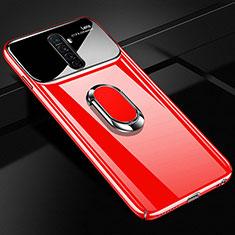 Funda Dura Plastico Rigida Carcasa Mate con Magnetico Anillo de dedo Soporte A02 para Realme X2 Pro Rojo