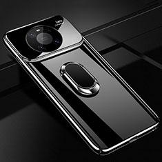 Funda Dura Plastico Rigida Carcasa Mate con Magnetico Anillo de dedo Soporte K01 para Huawei Mate 40 Pro Negro