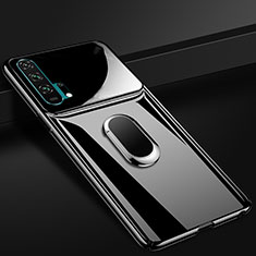 Funda Dura Plastico Rigida Carcasa Mate con Magnetico Anillo de dedo Soporte P01 para Huawei Honor 20 Pro Negro
