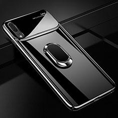 Funda Dura Plastico Rigida Carcasa Mate con Magnetico Anillo de dedo Soporte P01 para Huawei P20 Negro