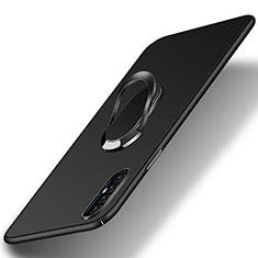 Funda Dura Plastico Rigida Carcasa Mate con Magnetico Anillo de dedo Soporte P01 para Oppo Find X2 Neo Negro