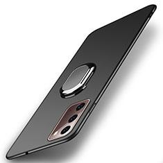 Funda Dura Plastico Rigida Carcasa Mate con Magnetico Anillo de dedo Soporte P01 para Samsung Galaxy Note 20 5G Negro