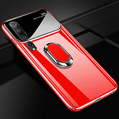 Funda Dura Plastico Rigida Carcasa Mate con Magnetico Anillo de dedo Soporte P01 para Xiaomi Mi 10 Pro Rojo