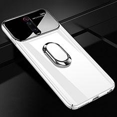 Funda Dura Plastico Rigida Carcasa Mate con Magnetico Anillo de dedo Soporte P01 para Xiaomi Mi 9T Pro Blanco