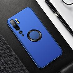 Funda Dura Plastico Rigida Carcasa Mate con Magnetico Anillo de dedo Soporte P01 para Xiaomi Mi Note 10 Azul