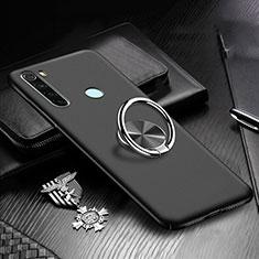 Funda Dura Plastico Rigida Carcasa Mate con Magnetico Anillo de dedo Soporte P01 para Xiaomi Redmi Note 8 Negro