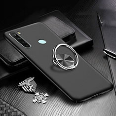Funda Dura Plastico Rigida Carcasa Mate con Magnetico Anillo de dedo Soporte P01 para Xiaomi Redmi Note 8T Negro
