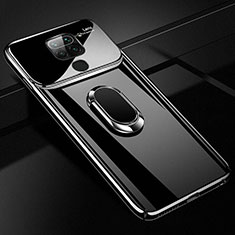 Funda Dura Plastico Rigida Carcasa Mate con Magnetico Anillo de dedo Soporte P01 para Xiaomi Redmi Note 9 Negro