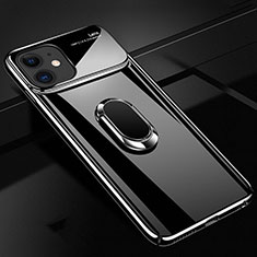 Funda Dura Plastico Rigida Carcasa Mate con Magnetico Anillo de dedo Soporte P02 para Apple iPhone 11 Negro