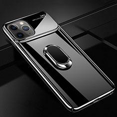 Funda Dura Plastico Rigida Carcasa Mate con Magnetico Anillo de dedo Soporte P02 para Apple iPhone 11 Pro Max Negro