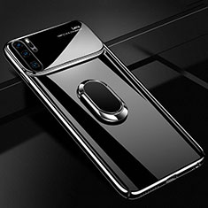 Funda Dura Plastico Rigida Carcasa Mate con Magnetico Anillo de dedo Soporte P02 para Huawei P30 Pro Negro