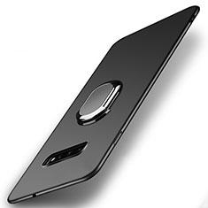 Funda Dura Plastico Rigida Carcasa Mate con Magnetico Anillo de dedo Soporte P02 para Samsung Galaxy S10 Negro