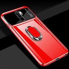 Funda Dura Plastico Rigida Carcasa Mate con Magnetico Anillo de dedo Soporte P02 para Xiaomi Redmi Note 8 Pro Rojo