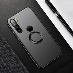 Funda Dura Plastico Rigida Carcasa Mate con Magnetico Anillo de dedo Soporte P02 para Xiaomi Redmi Note 8T Negro
