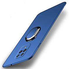Funda Dura Plastico Rigida Carcasa Mate con Magnetico Anillo de dedo Soporte P02 para Xiaomi Redmi Note 9 Azul