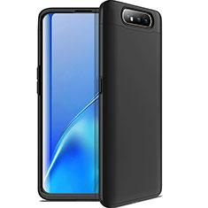 Funda Dura Plastico Rigida Carcasa Mate Frontal y Trasera 360 Grados C01 para Samsung Galaxy A80 Negro