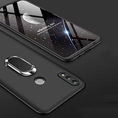 Funda Dura Plastico Rigida Carcasa Mate Frontal y Trasera 360 Grados con Anillo de dedo Soporte para Huawei Honor 10 Lite Negro