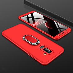 Funda Dura Plastico Rigida Carcasa Mate Frontal y Trasera 360 Grados con Anillo de dedo Soporte para Samsung Galaxy A6 Plus Rojo