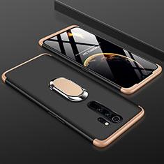 Funda Dura Plastico Rigida Carcasa Mate Frontal y Trasera 360 Grados con Anillo de dedo Soporte para Xiaomi Redmi Note 8 Pro Oro y Negro