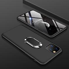 Funda Dura Plastico Rigida Carcasa Mate Frontal y Trasera 360 Grados con Anillo de dedo Soporte R01 para Apple iPhone 11 Pro Negro
