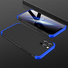 Funda Dura Plastico Rigida Carcasa Mate Frontal y Trasera 360 Grados M01 para Apple iPhone 12 Pro Max Azul y Negro