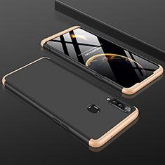 Funda Dura Plastico Rigida Carcasa Mate Frontal y Trasera 360 Grados M01 para Samsung Galaxy A20s Oro y Negro