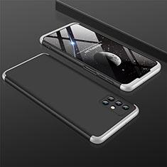 Funda Dura Plastico Rigida Carcasa Mate Frontal y Trasera 360 Grados M01 para Samsung Galaxy M31s Plata y Negro