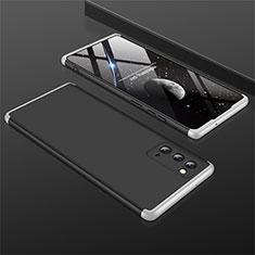Funda Dura Plastico Rigida Carcasa Mate Frontal y Trasera 360 Grados M01 para Samsung Galaxy Note 20 5G Plata y Negro