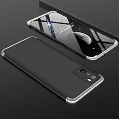Funda Dura Plastico Rigida Carcasa Mate Frontal y Trasera 360 Grados M01 para Xiaomi Poco M3 Plata y Negro