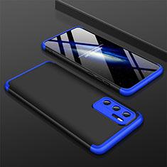 Funda Dura Plastico Rigida Carcasa Mate Frontal y Trasera 360 Grados M02 para Huawei P40 Azul y Negro