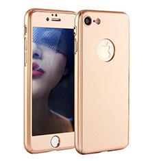 Funda Dura Plastico Rigida Carcasa Mate Frontal y Trasera 360 Grados P01 para Apple iPhone 8 Oro