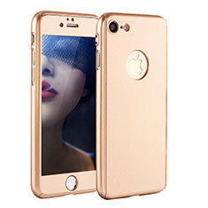 Funda Dura Plastico Rigida Carcasa Mate Frontal y Trasera 360 Grados P01 para Apple iPhone SE (2020) Oro