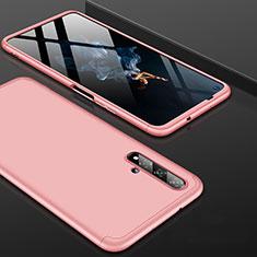 Funda Dura Plastico Rigida Carcasa Mate Frontal y Trasera 360 Grados P01 para Huawei Honor 20 Oro Rosa