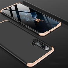 Funda Dura Plastico Rigida Carcasa Mate Frontal y Trasera 360 Grados P01 para Huawei Honor 20 Pro Oro y Negro