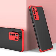 Funda Dura Plastico Rigida Carcasa Mate Frontal y Trasera 360 Grados P01 para Huawei P40 Lite 5G Rojo y Negro