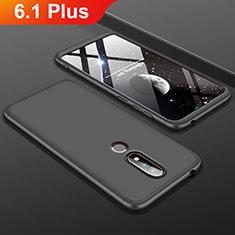 Funda Dura Plastico Rigida Carcasa Mate Frontal y Trasera 360 Grados P01 para Nokia 6.1 Plus Negro