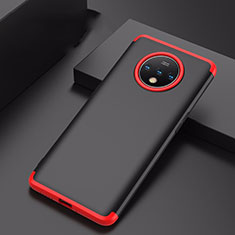 Funda Dura Plastico Rigida Carcasa Mate Frontal y Trasera 360 Grados P01 para OnePlus 7T Rojo y Negro