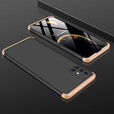 Funda Dura Plastico Rigida Carcasa Mate Frontal y Trasera 360 Grados P01 para Samsung Galaxy A51 5G Oro y Negro