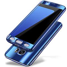 Funda Dura Plastico Rigida Carcasa Mate Frontal y Trasera 360 Grados P01 para Samsung Galaxy S7 Edge G935F Azul