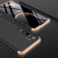 Funda Dura Plastico Rigida Carcasa Mate Frontal y Trasera 360 Grados P01 para Xiaomi Mi Note 10 Oro y Negro