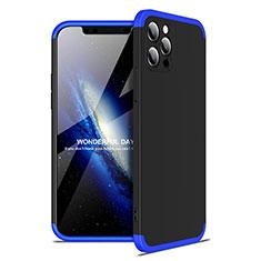 Funda Dura Plastico Rigida Carcasa Mate Frontal y Trasera 360 Grados para Apple iPhone 12 Pro Max Azul y Negro