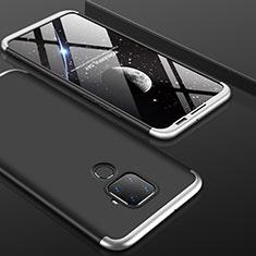 Funda Dura Plastico Rigida Carcasa Mate Frontal y Trasera 360 Grados para Huawei Mate 30 Lite Plata y Negro